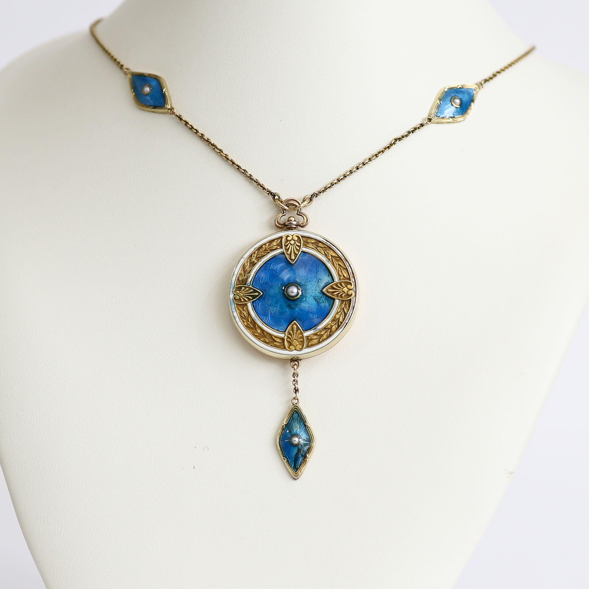 Magnificent Circa 1900 Art Nouveau 14K Enameled Double Locket Necklace