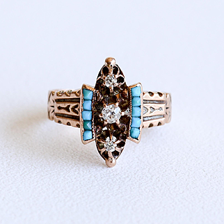 Circa 1880 Antique Lady's 14K Rose Gold Diamond & Persian Turquoise Ring