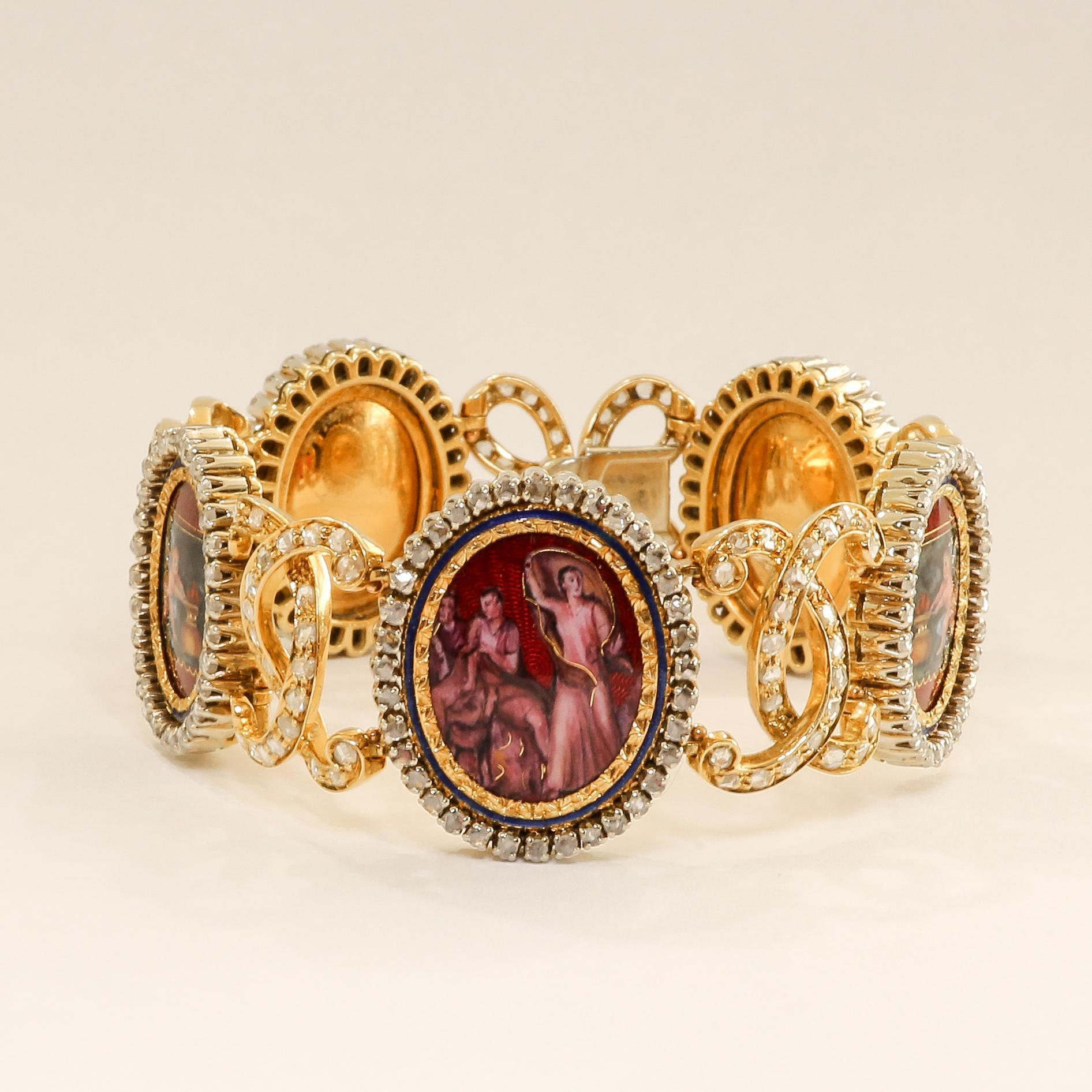 Circa 1900 Art Nouveau 18K Lady's Diamond Bracelet With Scenes Of Pompeii Frescoes