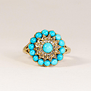 Lady's Vintage 18K Persian Turquoise & Diamond Ring