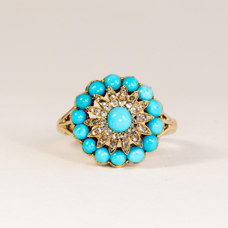 Lady's Vintage 18K Persian Turquoise & Diamond Ring