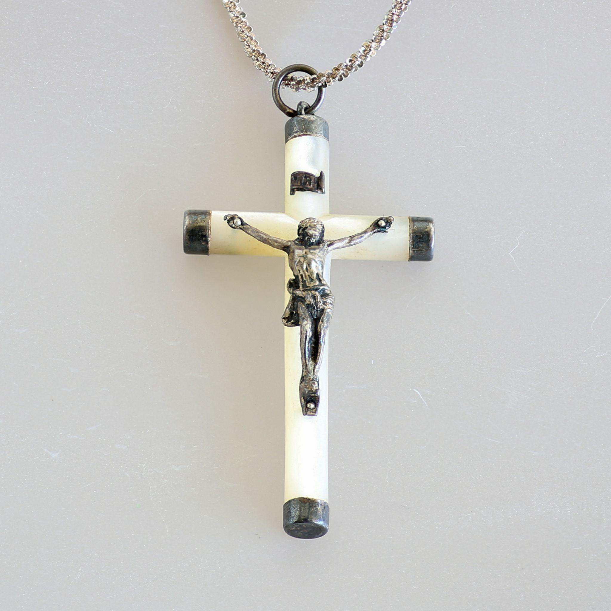 Circa 1890 French Antique Silver M.O.P. Crucifix