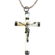 Circa 1890 French Antique Silver M.O.P. Crucifix