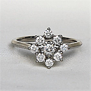 Lady' Vintage Signed Tiffany Platinum Diamond Ring