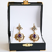 Circa 1890 Lady's 14K Art Nouveau Amethyst & Pearl Enameled Earrings