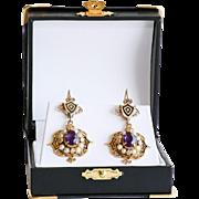 Circa 1890 Lady's 14K Art Nouveau Amethyst & Pearl Enameled Earrings