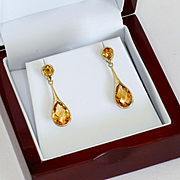 Lady's Vintage Custom 14K Citrine Drop Earrings