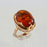 Lady's 14K Rose Gold Russian Amber Ring