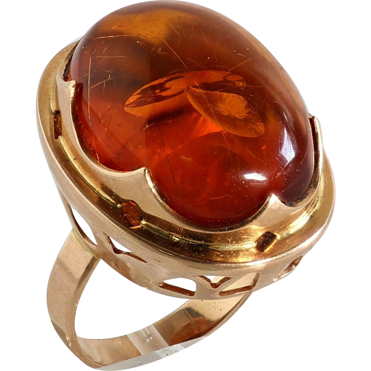 Lady S 14k Rose Gold Russian Amber Ring The Vault Fine