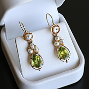 Lady's Antique Circa 1890 14K Peridot & Pearl Earrings