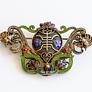 Amazing Circa 1900 Antique Chinese Enameled Silver & 14K Imperial Brooch