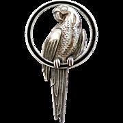 Vintage Art Deco Sterling Enameled Parrot Brooch