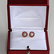 Lady' Vintage 14K Diamond & Ruby Earrings