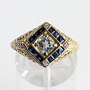 Lady's Circa 1910 Antique 14K Aquamarine, Sapphire & Diamond Ring