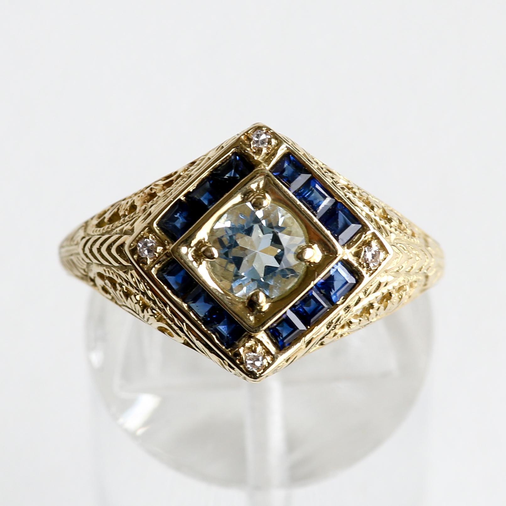 Lady's Circa 1910 Antique 14K Aquamarine, Sapphire & Diamond Ring