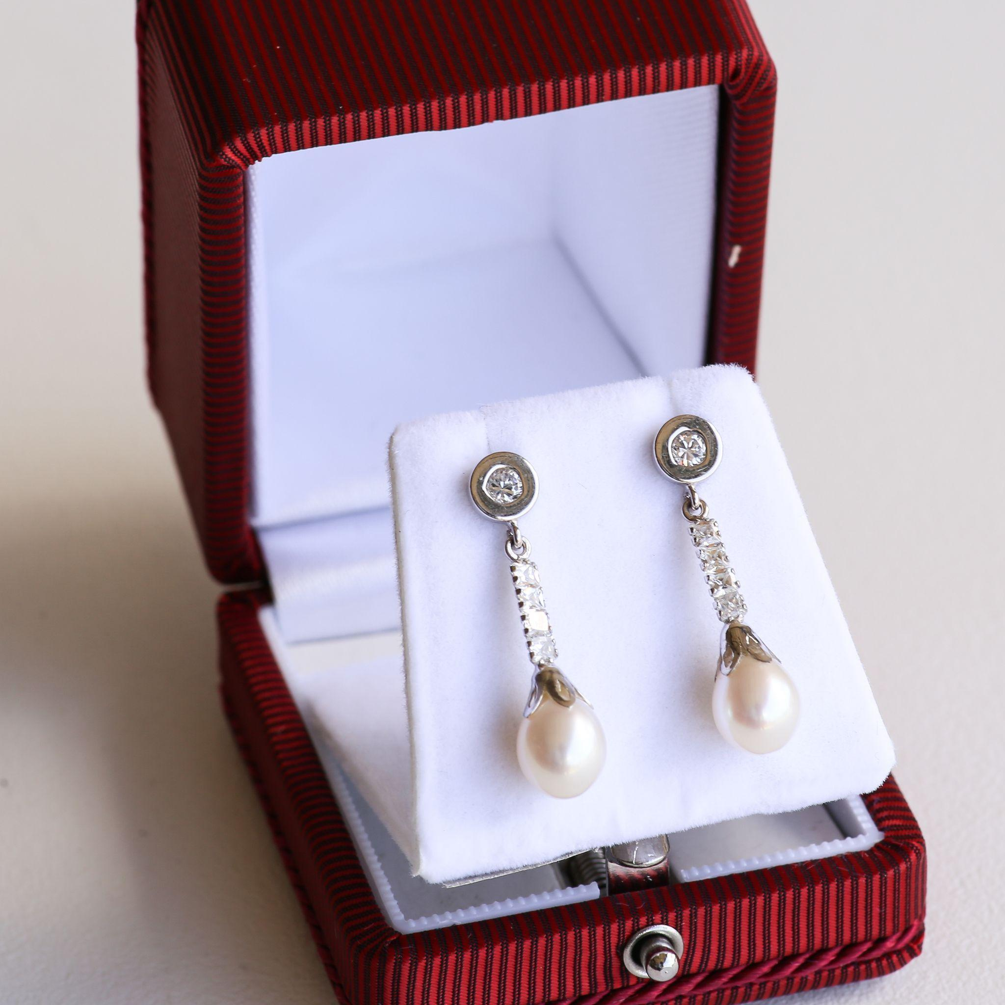 Magnificent Circa 1940's 14K Diamond & Cultured Pearl Drop Earrings