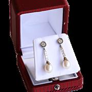 Magnificent Circa 1940's 14K Diamond & Pearl Drop Earrings