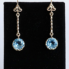 Lady's Vintage 14K Sky Blue Topaz Drop Earrings