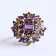 Magnificent Lady's Vintage 10K Amethyst, Citrine & Tourmaline Ring