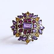 Magnificent Lady's Vintage 10K Amethyst, Citrine & Tourmaline Ring