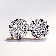 Lady's Vintage Custom 18K White Gold Diamond Earrings