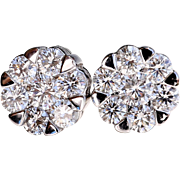 Lady's Vintage Custom 18K White Gold Diamond Earrings