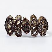 Magnificent Circa 1890 Art Nouveau Silver Garnet Bracelet