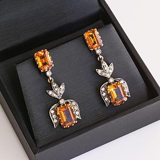 Lady's Antique Circa 1910 18K & Silver Citrine & Diamond Earrings