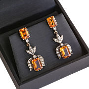 Lady's Antique Circa 1910 18K & Silver Citrine & Diamond Earrings
