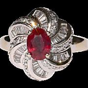 Lady's Vintage 14K Ruby & Diamond Ring