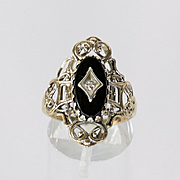 Circa 1920's Lady's Vintage 10K Onyx & Diamond Ring