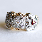Rare Gent's 10K Masonic - York Scottish Rite - Shriners Diamond Ring