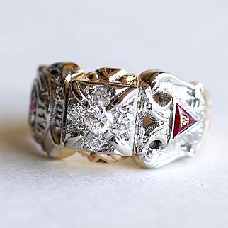 Rare Gent's 10K Masonic - York Scottish Rite - Shriners Diamond Ring