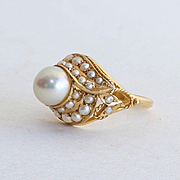 Lady's Custom Vintage 18K Pearl Ring