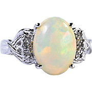 Lady's Vintage 14K Opal & Diamond Ring