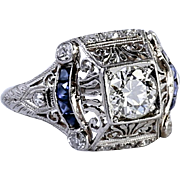 Lady's Platinum Art Deco Diamond & Sapphire Ring