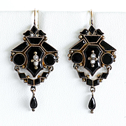 Circa 1880 Lady's Victorian 14K Onyx & Pearl Earrings