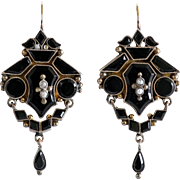 Circa 1880 Lady's Victorian 14K Onyx & Pearl Earrings