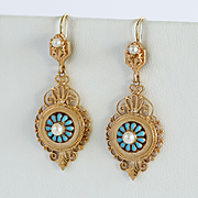Lady's Antique Circa 1910 14K Enameled & Pearl Earrings