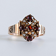 Lady's Antique Circa 1880 10K Garnet & Pearl Ring