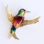 Vintage Black Starr & Frost 18K Enameled Hummingbird Brooch