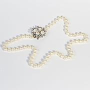Lady's Vintage Circa 1930's 14K & Diamond Cultured Pearl Necklace