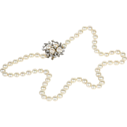 Lady's Vintage Circa 1930's 14K & Diamond Cultured Pearl Necklace