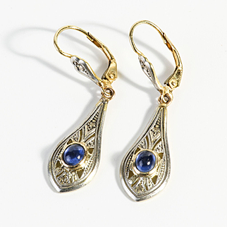 Lady's Circa 1900 Art Nouveau 14K & Platinum Sapphire Earrings