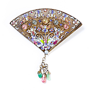 Lady's Circa 1900 Asian Silver Enameled Gem Stone Fan Brooch