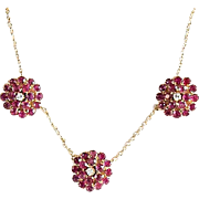 Lady's Vintage 14K Ruby & Diamond Necklace