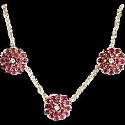 Lady's Vintage 14K Ruby & Diamond Necklace