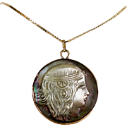 Lady's Art Deco Egyptian Revival 14K Cameo Carved Pendant