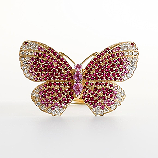 Magnificent Lady's Vintage Custom 14K Ruby & Diamond Butterfly Ring