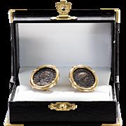 Lady's Antique Roman Coin 14K Earrings